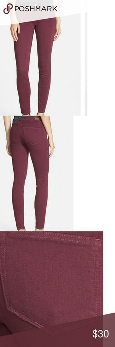 PAIGE Vertigo ultra skinny jeans sweet wine sz,28 PAIGE Vertigo ultra skinny jeans sweet wine color size 28,54%rayon,23%cotton,22%polyester, 1%spandex,mid rise 8.38,inseam 28,10.25 leg opening,good condition,washed and worn twice,pair these PAIGE sweet wine color jeans with a distressed gray tee and black heels and or sip on heels Paige Jeans Jeans Skinny