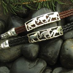 3 Running Horses on Bradied Cord - Black Black Bracelets, Cord Bracelets, Affordable Jewelry, Unique Jewelry, Horse Braiding, Horse Hair Bracelet, Silver Horse, Running Horses, Horse Jewelry