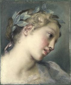 A muse (mid-1720s) by Rosalba Carriera [Italian, 1673 - 1757] Pastel on laid blue paper, 31 x 26 cm