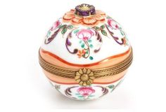 Limoges Floral Orange Box with Perfume Borrle  (inside)