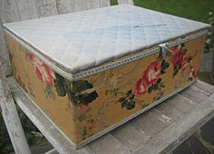Vintage wallpaper sewing box quilted top by LittleBeachDesigns, $56.00