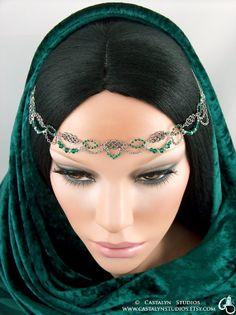 Nareena  Celtic Knot Emerald Green Swarovski by CastalynStudios, $45.00