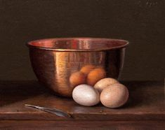 """Daily Paintworks - """"Still Life with Copper Bowl and Three Eggs (Homage to Chardin, - Original Fine Art for Sale - © Abbey Ryan Still Life Images, Still Life Art, Still Life Oil Painting, Still Life Photography, Fine Art Gallery, Art World, Painting Inspiration, Lovers Art, Art For Sale"""