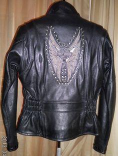 Harley Davidson Leather Jacket Tribal Embroidery Studded Longer Length