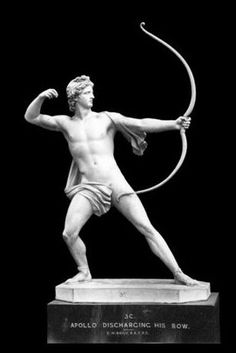 Apollo Discharging his Bow ~Apollo has been variously recognized as a god of light and the sun, truth and prophecy, healing, plague, music, poetry, and more. Apollo is the son of Zeus and Leto, and has a twin sister, the chaste huntress Artemis. Apollo is known in Greek-influenced Etruscan mythology as Apulu.  @jessica zheng.wikipedia.org