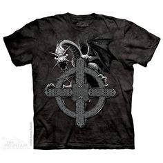 T-shirt | Celtic Cross Dragon T-shirts  $19.99 This high quality T-shirt is hand dyed and printed in the United States. This is not an iron-on decal that will crack and flake off. The ink is deeply embedded in the fibers which guarantees a long lasting print design and extraordinary comfort.  100% Cotton Pre-shrunk