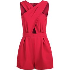 Red Sleeveless Cross Hollow Jumpsuit featuring polyvore, fashion, clothing, jumpsuits, rompers, dresses, playsuits, vestidos, red, playsuit jumpsuit, romper jumpsuit, red jump suit, sleeveless jumpsuit and playsuit romper