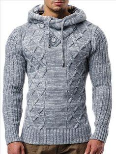 Kapuzen Strick Pullover-Pulli-Norweger Grau Lee 'Ecosse by Leif Nelson M-L-XL  in Kleidung & Accessoires, Herrenmode, Pullover & Strick | eBay!