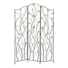 Openwork metal room divider with Capiz shell accents.   Product: Room dividerConstruction Material: Premium grade...