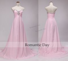 Women Elegant Sweetheart Rhinestone Pink Long Evening Dresses 2016/Pink Prom Dresses/Chiffon A-Line Dress/Custom Made 0415