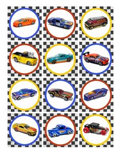 Hot Wheels Cupcake toppers - free to print.