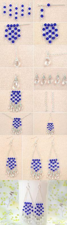 Tutorial on blue crystal beaded fringe earrings making from LC.Pandahall.com