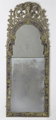Mirror  Place of origin: London, England (probably, made)  Date: ca. 1707 (made)  Artist/Maker: Pelletier, René (possibly, maker)  Pelletier, Thomas (maker)  Materials and Techniques: Cast glass, with borders of <i>verre eglomisé</i> (glass backed with engraved gold leaf), and silvered pinewood