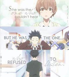 A silent voice Sad Anime Quotes, Manga Quotes, Sad Quotes, Inspirational Quotes, Koe No Katachi Anime, A Silence Voice, A Silent Voice Anime, Voice Quotes, Grimgar
