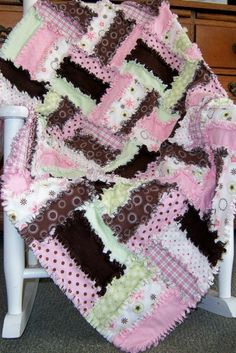 Strawberry Delight Rag Quilt...made one just like this but with fireman flannels for my nephew 4 years ago...never used a pattern just designed myself then I used these exact fabrics on my nieces quilt 2 years ago but different pattern....weird!