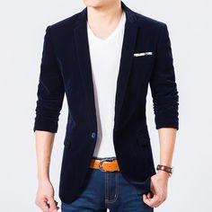 Blazer Masculino Azul Slim Fit Veludo Breasted Plus