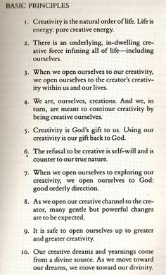 "Basic Principles of ""The Artist's Way"" by Julia Cameron. Number 6, in particular, resonates with me..."