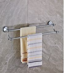 58.88$  Watch here - http://alijx6.worldwells.pw/go.php?t=32659712950 - Polished Chrome Brass Bathroom Towel Rack Holder Dual Towel Bars Ceramic Base