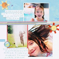 Need just a little sparkle to accentuate a theme? Look for clever ways to give your embellishments a purpose on your page. Here pink sequins act as sparkly water droplets and gems on the sun to make it shine.