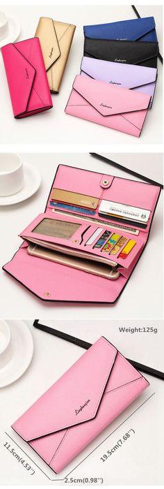 US$7.81 Women PU Leather Envelope Wallet Multi-Card Slots Card Bag Phone Wallet Purse