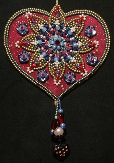 Bead Embroidered Heart Ornament class by Lisa Binkley (Wisconsin)