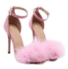 High Heel Fur Feather Buckle Strap Women Sandals