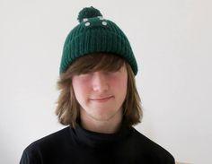 Green Pom Pom Hat - Hand Knitted, £21.99