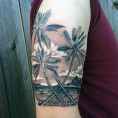 Tropical Palm Tree Tattoo For Guys On Arms