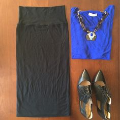 """Fitted long black skirt Cute and comfortable stretchy black skirt. Measures 28"""" in length. Original label removed but purchased at Urban Outfitters. 95% rayon, 5% spandex. Worn a few times but in great condition. Urban Outfitters Skirts"""