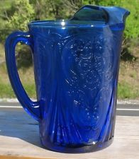 """DEPRESSION ERA  """"ROYAL LACE""""  COBALT BLUE WATER PITCHER with ICE LIP"""
