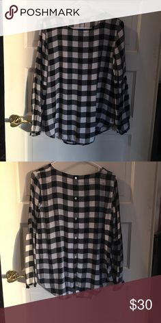 Loft checked blouse with button up back Buffalo check blouse with buttons up the back. Worn once. Size small. LOFT Tops Blouses