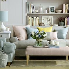 Pretty pastel living room | Great schemes with mix-and-match living room chairs | housetohome.co.uk
