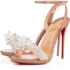 Crystal Queen 120 Nude Patent Leather - Women Shoes - Christian... ($2,245) ❤ liked on Polyvore featuring shoes, sandals, crystal shoes, patent shoes, sparkly sandals, christian louboutin shoes and crystal sandals
