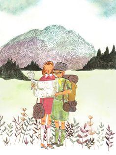 Moonrise Kingdom Art Print by Emma Block - X-Small Couple Illustration, Digital Illustration, Emma Block, Moonrise Kingdom, Beautiful Drawings, Art Forms, Original Artwork, Modern Art, Art Drawings