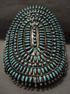 ONE-OF-THE-MOST-INTRICATE-EVER-VINTAGE-ZUNI-TURQUOISE-SILVER-BRACELET