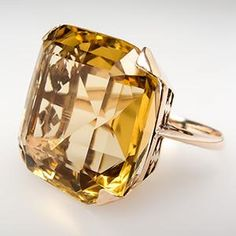 Vintage 18 Carat Natural Citrine Cocktail Ring 14K Gold 1950's