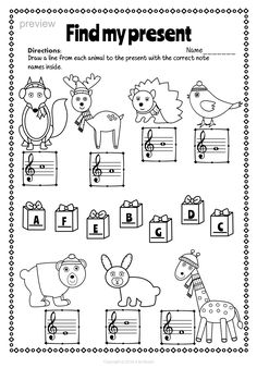FREE DOWNLOAD: FOUR music worksheets with a Christmas