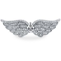 BERRICLE Sterling Silver CZ Angel Wings Fashion Right Hand Cocktail Ring found on Polyvore featuring polyvore, fashion, jewelry, rings, clear, sterling silver, women's accessories, cubic zirconia anniversary rings, cz rings and sterling silver rings