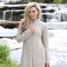 Ladies Flared Coat made from 100% Merino Wool by Natallia Kulikouskaya for West End Knitwear, Ireland