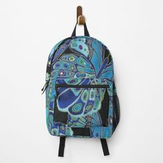 """Teal and Black Butterfly Pattern"" Backpack by HavenDesign 