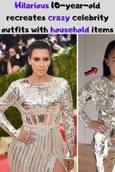 Hilarious 10-year-old recreates crazy celebrity outfits with household items Fashion Wear, Look Fashion, Winter Fashion, Fashion Outfits, Fashion Tips, Fashion Fail, Crazy Outfits, Retro Outfits, Crazy Celebrities