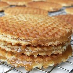Stroopwafels are Dutch waffle cookies with a caramel- like filling.  This is my recipe.