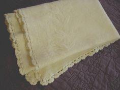 Vintage Baby Wool Receiving Blanket with Crochet