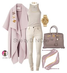 """""""Untitled #2963"""" by stylebydnicole ❤ liked on Polyvore featuring Hermès, Rick Owens, Burberry, Jimmy Choo, Chanel, Eddie Borgo and Nixon"""