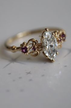 Vintage 14k Solid White Gold Diamond 4mm 0.25ct Lavendar Heart Lolite Ring Sz6 Perfect For Stacking