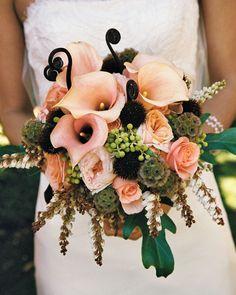 peach, brown, eggplant bouquet
