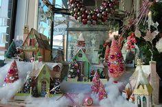 50 Christmas Village Window Display Ideas - Home to Z Christmas Village Houses, Christmas Village Display, Christmas Town, Putz Houses, Christmas Time Is Here, Christmas Villages, Little Christmas, All Things Christmas, Vintage Christmas