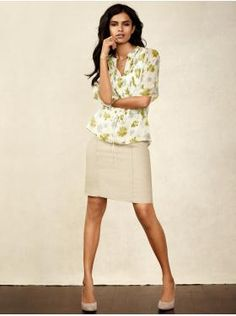silk printed pintuck tie-waist blouse and linen pencil skirt. an outfit put together on banana republic website
