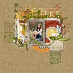 Autumn Hike digital scrapbook page by KimR at DesignerDigitals.com