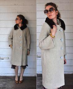 SALE Vintage WOOL Coat with MINK Collar Designer by ItaLaVintage